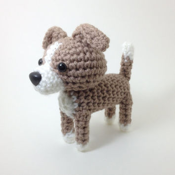 Amigurumi Italian Greyhound Stuffed Animal Handmade Blue Fawn Crochet Dog / Made to Order