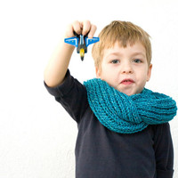 Children's Teal Infinity Scarf, Knit Kids Cowl for Boys or Girls, Toddler Scarf, play ohtteam aqua