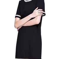 Black Short Sleeve Contrast Trim Shirt Dress