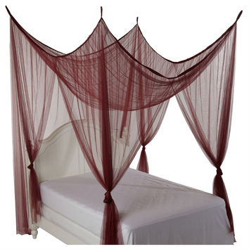 4-Post Bed Canopy In Burgundy - Fits All Size Beds