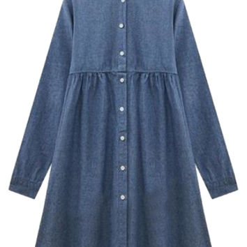 Blue High Neck Button Up Long Sleeve Denim A-Line Pleated Mini Dress