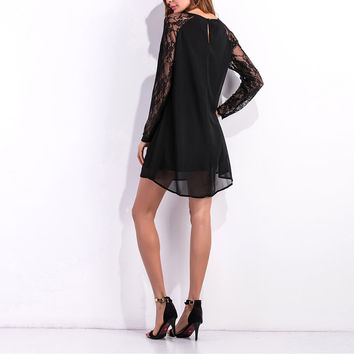 Chiffon Dress Gothic transparent with Lace patchwork Long sleeves black