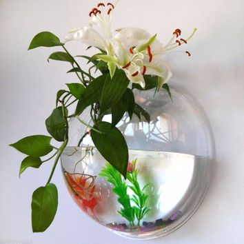 Hanging Plant Flower Glass Ball Vase Terrarium Wall Fish Tank Aquarium Decor Fish Bowl Aquarium Tank