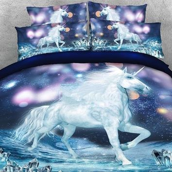 3D White Unicorn and Sparkling Lights Printed Luxury 4-Piece Bedding Sets/Duvet Covers