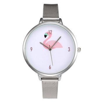 FUNIQUE Flamingo Pattern Full Steel Mesh Women Wristwatch Fashion Ladies Quartz Clock Casual Simple Minimalist Watch Reloj Mujer