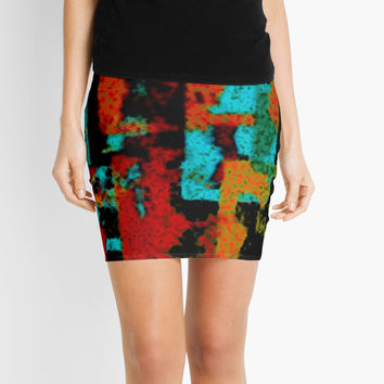 'City Form. Abstract Geometric Cityscape With Fuzzy Texture.' Mini Skirt by SpieklyArt