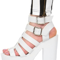 WHITE CRANKED UP SANDAL