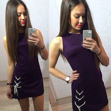 Women's Loose O-Neck Solid Color Casual Sleeveless Brief  Plus Size Mini Dress
