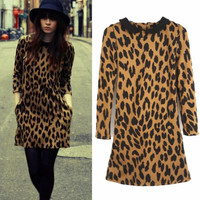 Fashion Doll Collar Allover Leopard Women Chic New Shift Mini Dress Top Pocket