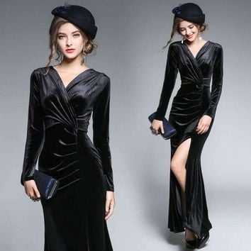 Womens Draped Floor-Length Dress Velvet Dress