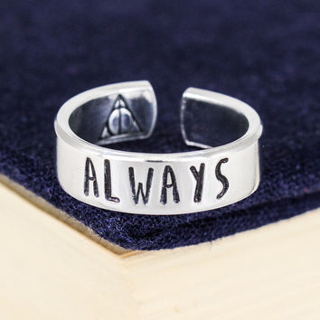Always Ring - Harry Potter - Deathly Hallows - Adjustable Aluminum Cuff Ring - Style C