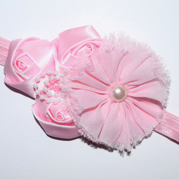 Pink baby headband , fancy headband baby , Easter headband baby , pink headband , satin roses , pearls , boutique , toddler fancy headband
