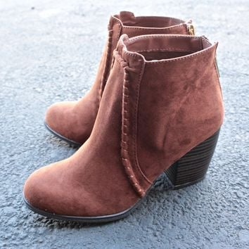 suede crew ankle boots in rust