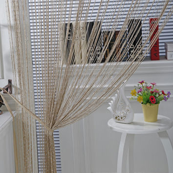 Gold Shining Line String Window Curtain Tassel Door Room Divider curtains of the thread fabric rideaux pour le salon de luxe