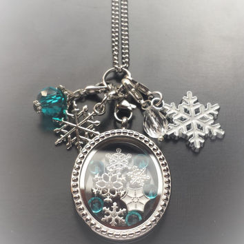 Snowflake Floating Charm Set-Includes Sivler Stainless Steel Oval Locket, Charms, Dangles, & Chain-Great Gift Idea