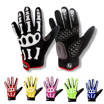 2017 New Touch Screen MTB Mountain Bicycle Bike Long Finger Full Finger Men Women Cycling Riding Racing Gloves Skeleton S-XXL
