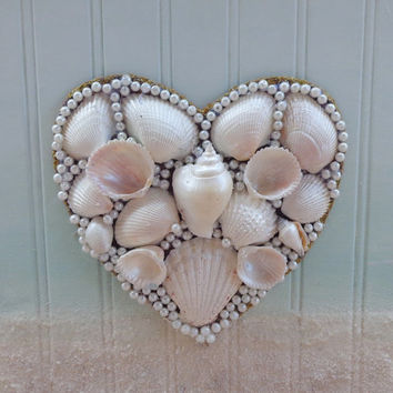 Seashell Heart- Original Beach Decor- Handpainted Ocean Collage- Mixed Media on Wood  11X17 inches