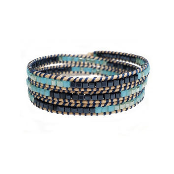 Midnight Blue and Teal Beaded Wrap Bracelet