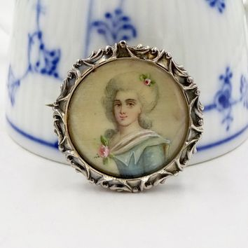 Antique Victorian Sterling Silver Miniature Painted Portrait Pin Brooch
