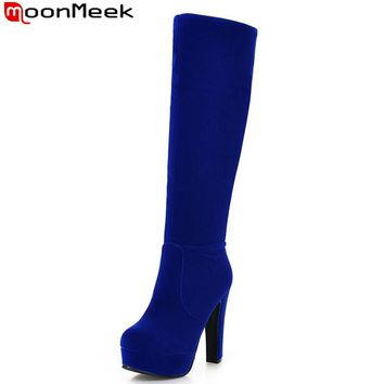 MoonMeek new arrival fashion flock the knee high boots for spring autumn hot sale popular plain platform boots for women