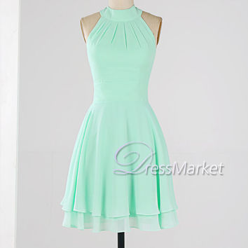 Mint Green High Coller Homecoming Dress Knee Length Sleevesless Wedding Party Si