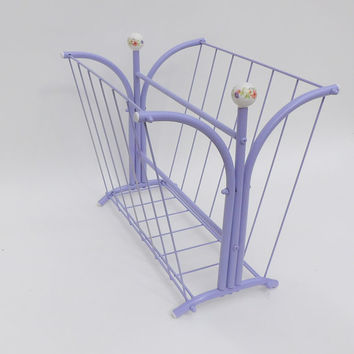 Lavender Purple Magazine Rack Mid Century Modern Furniture Vintage Metal Throw Blanket Holder Book Shelf Wire Scuttle Bath Towels Storage