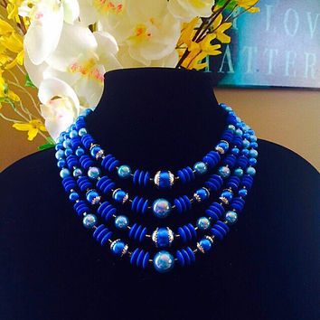 Multi Strand Blue Bead Necklace, Handmade Lucite Bead Necklace, Bib Necklace, Vintage Costume Jewelry