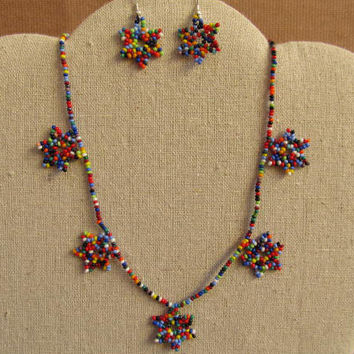 Huichol necklace earrings beaded Mexican Folk Art Mexico Hobo Flower # H05