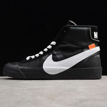Off-White x Nike Blazer Studio Mid Black White The Ten - Best Deal Online