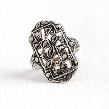 Vintage Marcasite Ring - Sterling Silver Art Deco Statement - Size 3 1/2 Milgrain Stud Design Sparkly Stone Flower Uncas Made in US Jewelry