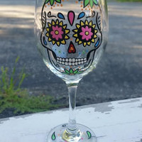 SUGAR SKULL hand-painted wine glass WITH STEM (GREEN FLOWERS)