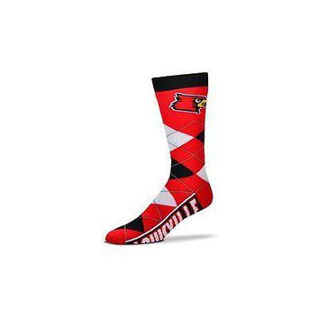 NCAA Louisville Cardinals Argyle Unisex Crew Cut Socks - One Size Fits Most