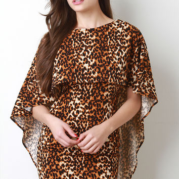 Leopard Cape Tier Bodycon Dress