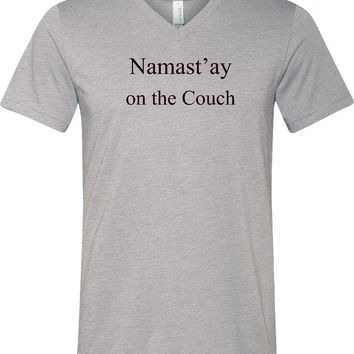 Yoga T-shirt Namaste On The Couch Lightweight Triblend V-neck