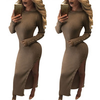 Sexy Side split O neck knit Dresses 2016 Autumn Winter Long sleeve Warm Bodycon Maxi Sweater Dress For Young Ladies LX079