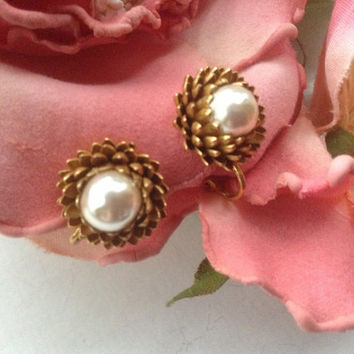 Miriam Haskell Pine Cone Earrings Faux Mabe Pearl French clips collectible signed creamy baroque romantic classic gold tone vintage wedding