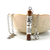 Message In a Bottle Music  Necklace,  Musical Note Jewelry, Treble Clef Charm
