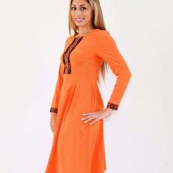 Autumn Mid Calf Modest Orange Dress