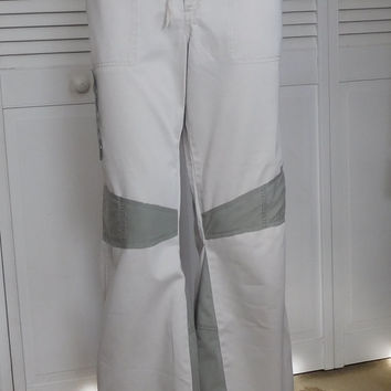 Bell Bottom Cargo Pants Upcycled Clothing Off White Green Size 10 Recycled Hippie Clothes Hiking Patched Bellbottom Pants