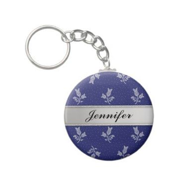Tiny Harebells - Hungarian Blue-dye Folk Art Key Chain from Zazzle.com