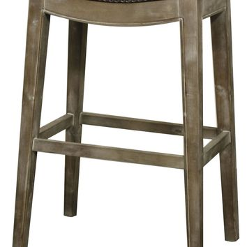Elmo Bonded Leather Bar Stool Mystique Gray Frame, Brown