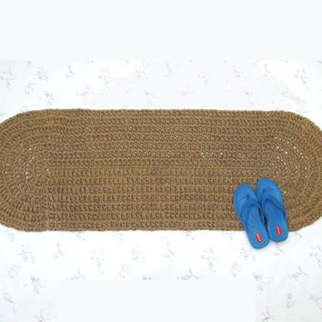 Long Oval Jute Rug - Crochet Jute Rug - Hall Runner - Kitchen Mat - Throw Rug - Hippie Rug - Hallway Rug - Sustainable Fiber Rug
