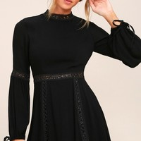 Indie Mae Black Long Sleeve Skater Dress