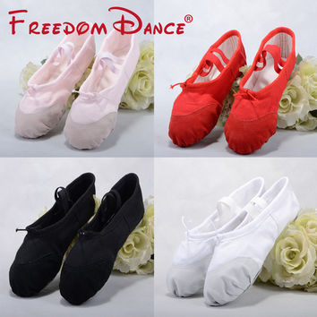 Quality Girls Teenagers Canvas Leather Ballet Slippers Soft Ballet Dance Shoe Split Outsoles Kids Gym Yoga Ballet Exercise Shoe