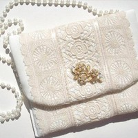 Vintage Ivory Lace Small Purse for Wedding or Prom One of a Kind | KathyJoKreations - Wedding on ArtFire