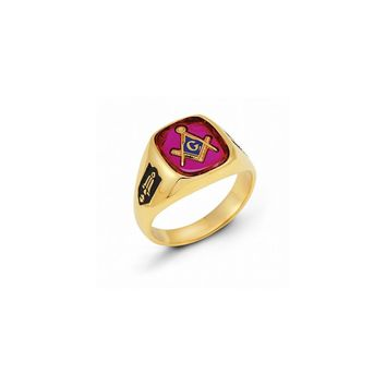 14k Yellow Gold Men's Synthetic Ruby Masonic Ring