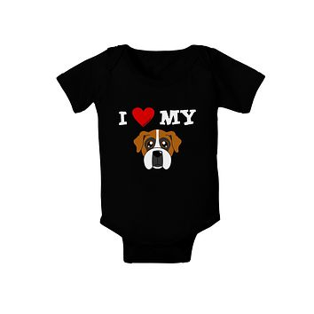 I Heart My - Cute Boxer Dog Baby Bodysuit Dark by TooLoud