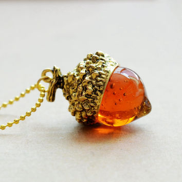Acorn Charm Pendant & Necklace