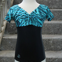 Short Sleeve, Twist Front, Girls Leotard for Dance or Gymnastics in Blue Zebra Stripe
