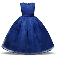 Flower Embroidered Kids Lace Formal Dress